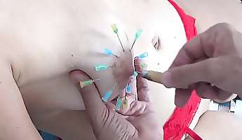 Tortured Girl with Needles Injection Saline in Breast and Vag